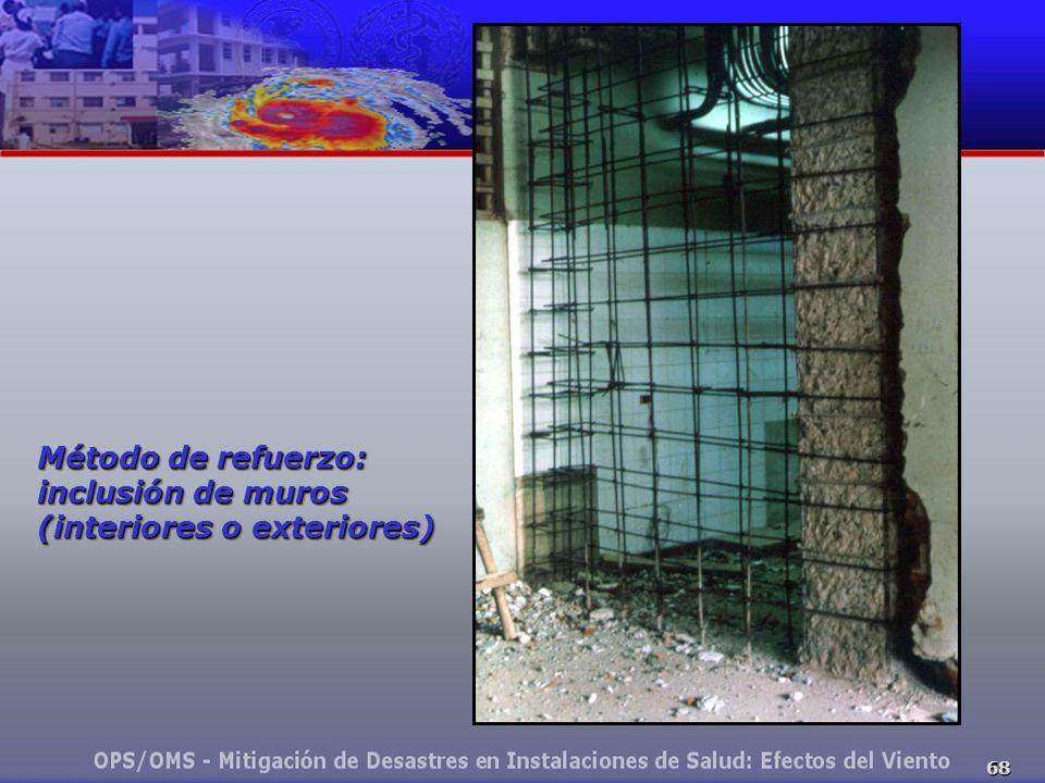 68 Método de refuerzo: inclusión de muros (interiores o exteriores)