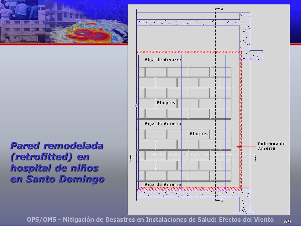69 Pared remodelada (retrofitted) en hospital de niños en Santo Domingo
