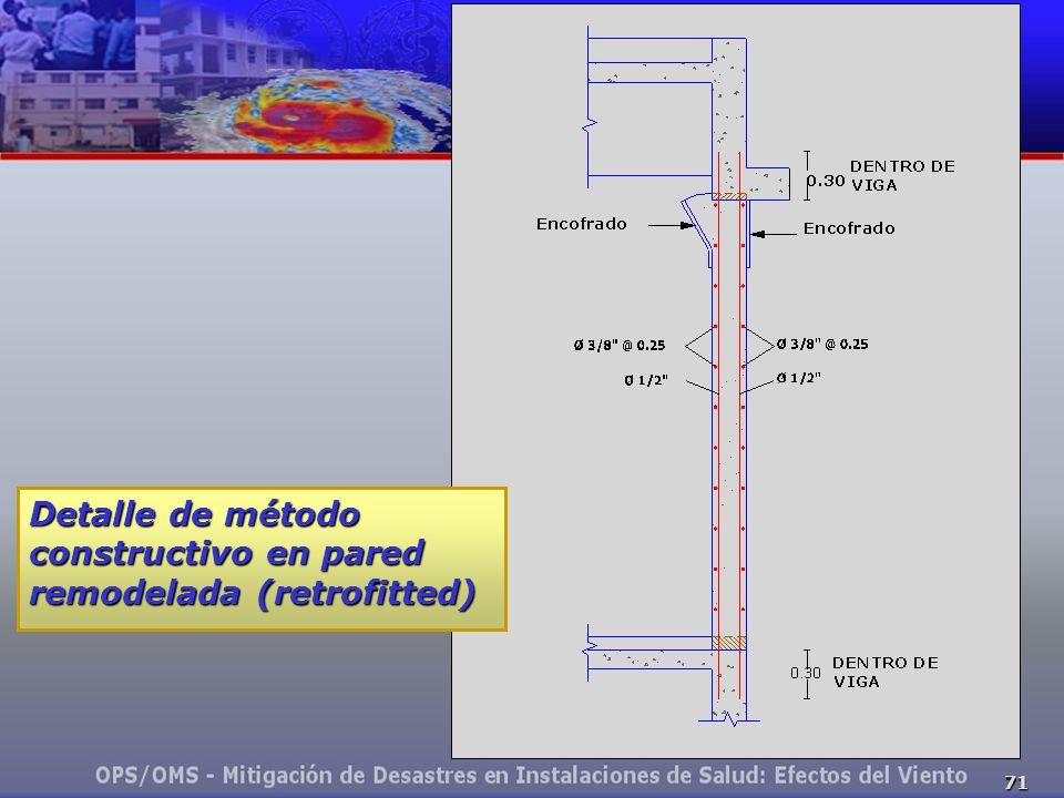 71 Detalle de método constructivo en pared remodelada (retrofitted)