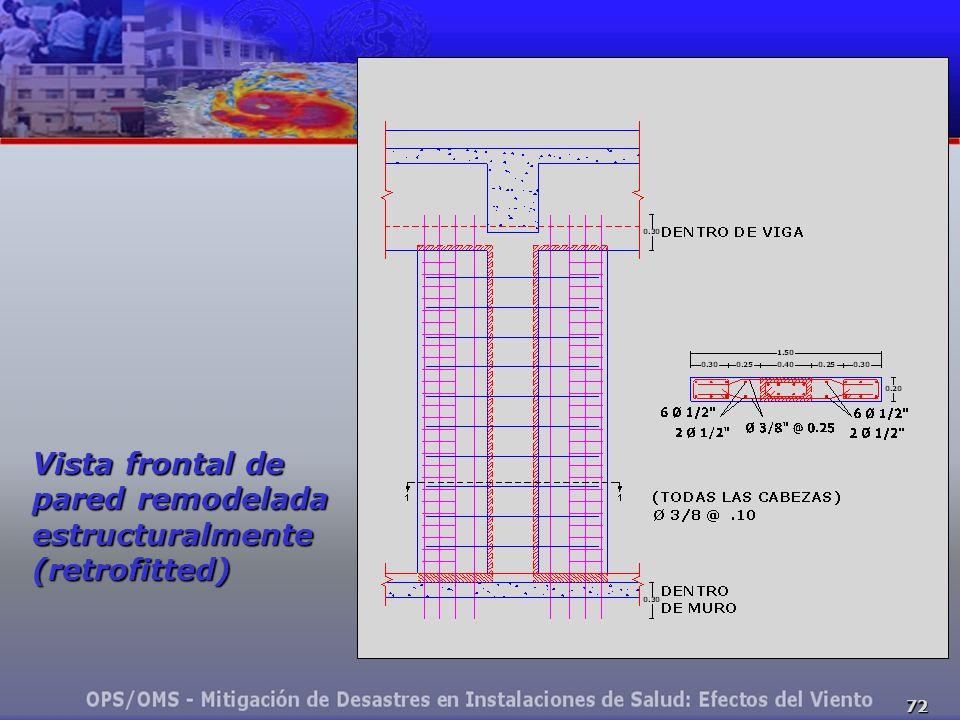 72 Vista frontal de pared remodelada estructuralmente (retrofitted)
