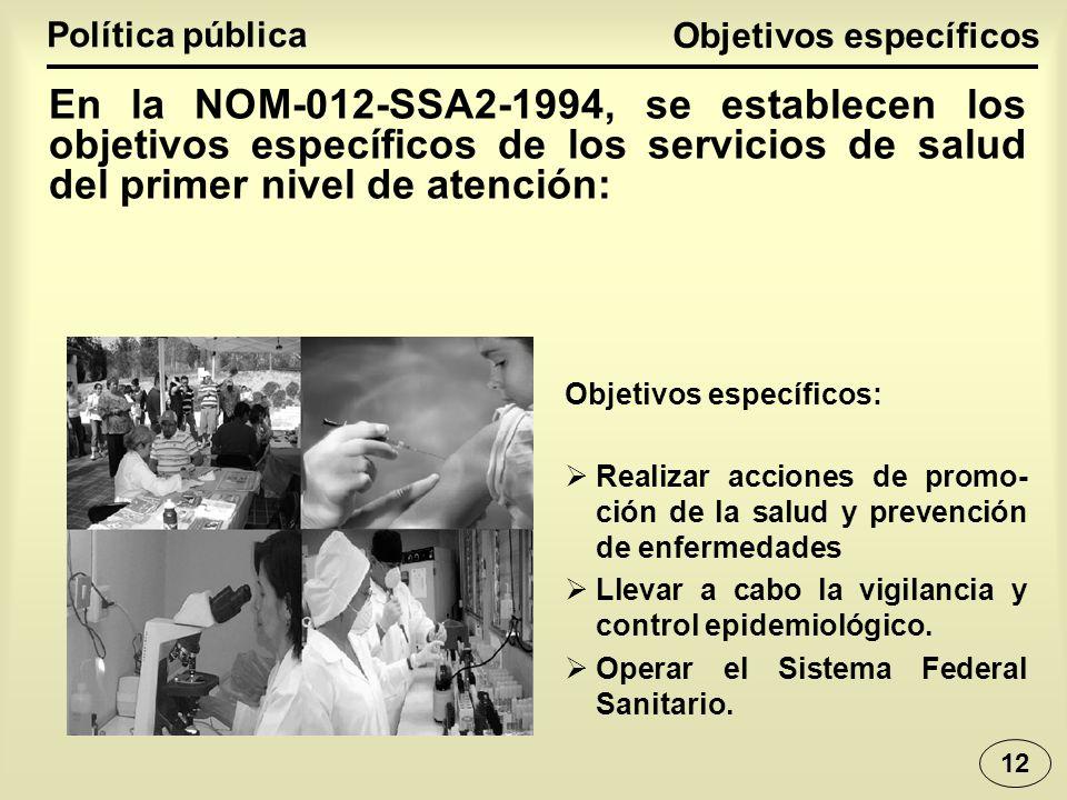 Realizar acciones de promo- ción de la salud y prevención de enfermedades Llevar a cabo la vigilancia y control epidemiológico.