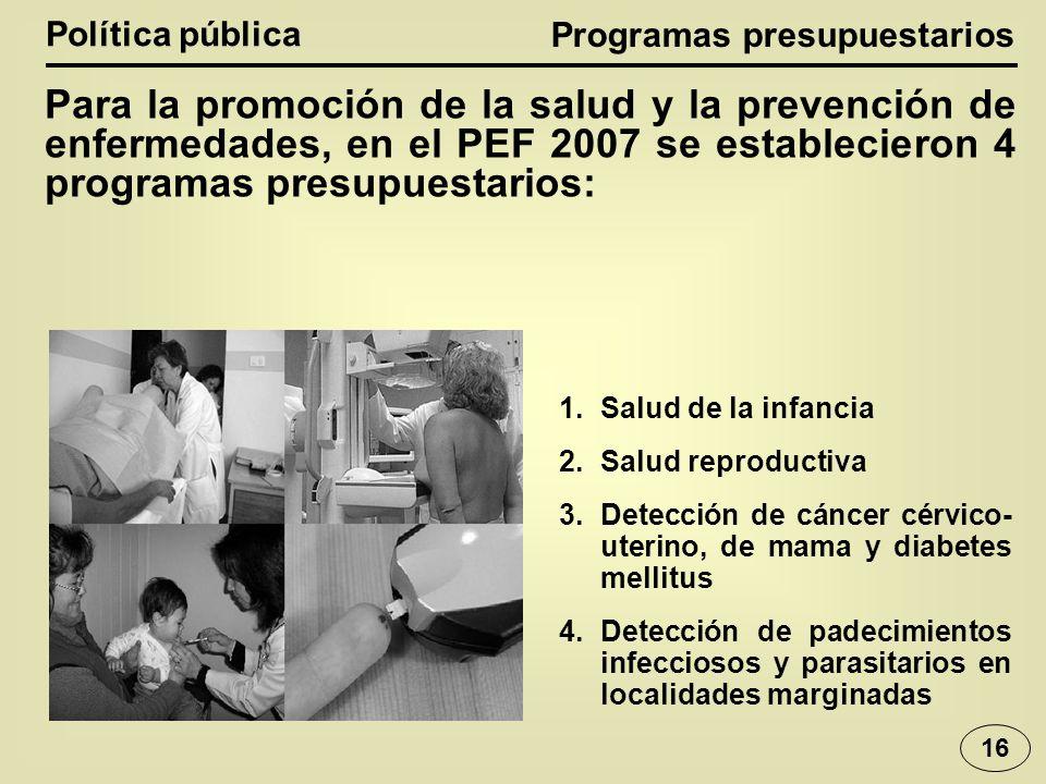 Política pública Para la promoción de la salud y la prevención de enfermedades, en el PEF 2007 se establecieron 4 programas presupuestarios: 1.Salud de la infancia 2.Salud reproductiva 3.Detección de cáncer cérvico- uterino, de mama y diabetes mellitus 4.Detección de padecimientos infecciosos y parasitarios en localidades marginadas Programas presupuestarios 16