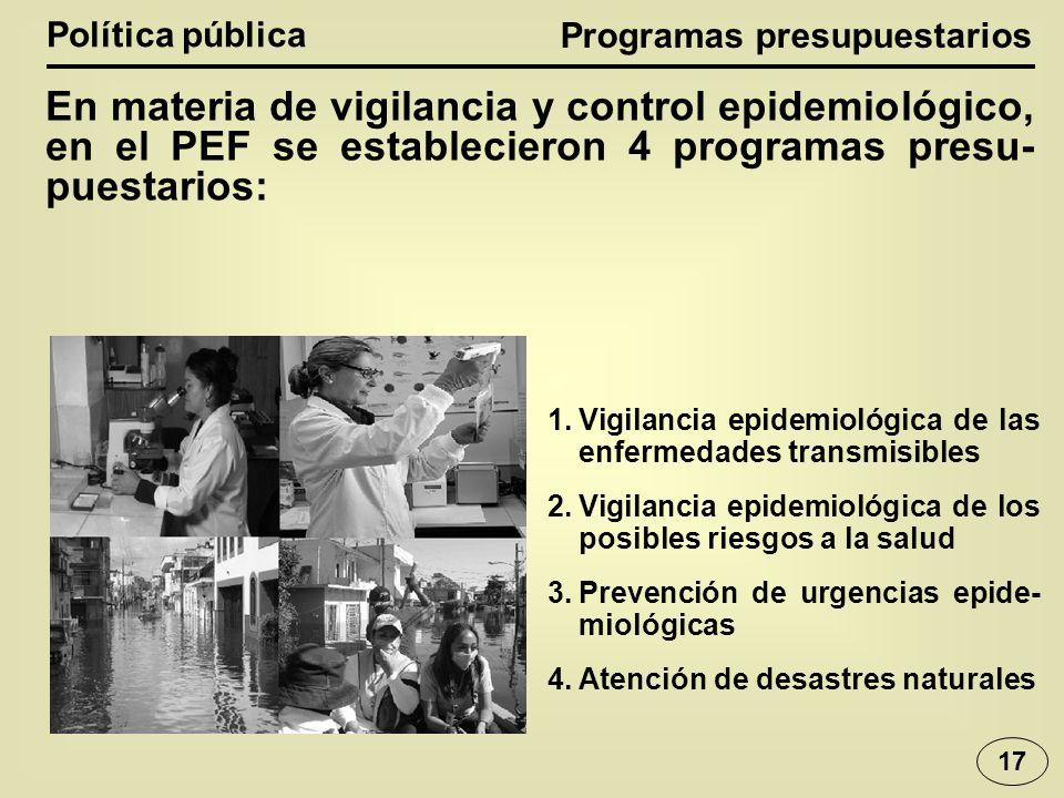 Política pública En materia de vigilancia y control epidemiológico, en el PEF se establecieron 4 programas presu- puestarios: 1.Vigilancia epidemiológica de las enfermedades transmisibles 2.Vigilancia epidemiológica de los posibles riesgos a la salud 3.Prevención de urgencias epide- miológicas 4.Atención de desastres naturales Programas presupuestarios 17