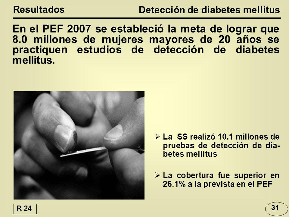 En el PEF 2007 se estableció la meta de lograr que 8.0 millones de mujeres mayores de 20 años se practiquen estudios de detección de diabetes mellitus.