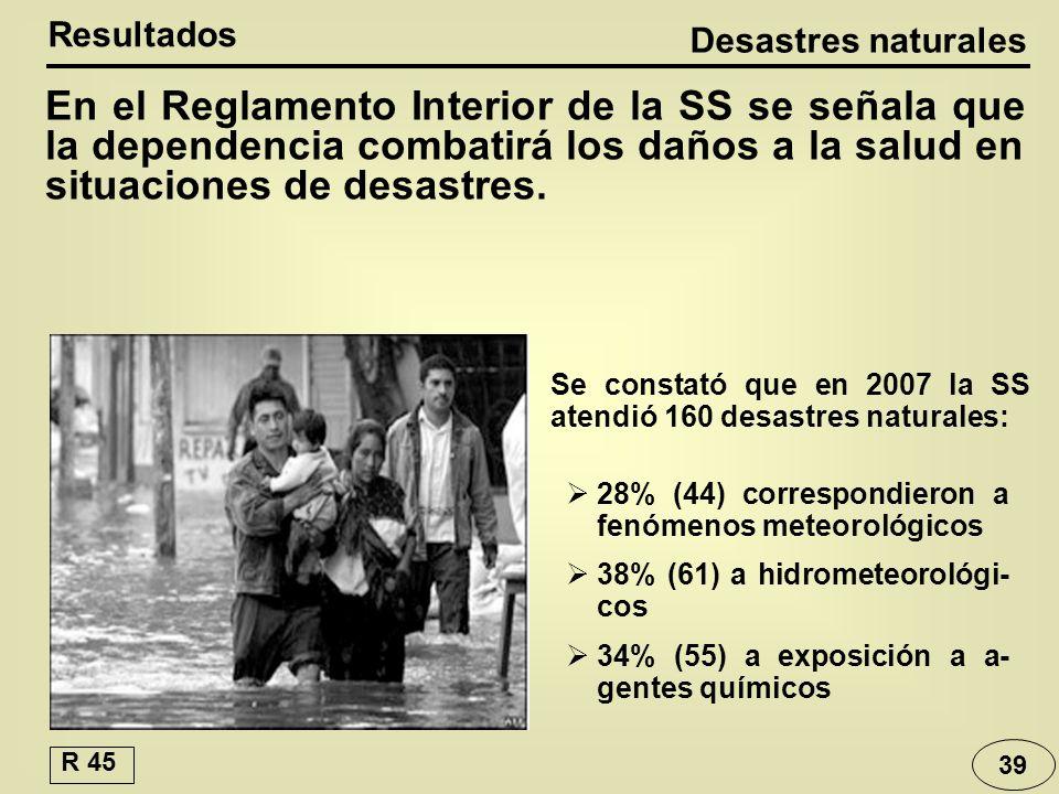 Desastres naturales Resultados En el Reglamento Interior de la SS se señala que la dependencia combatirá los daños a la salud en situaciones de desastres.