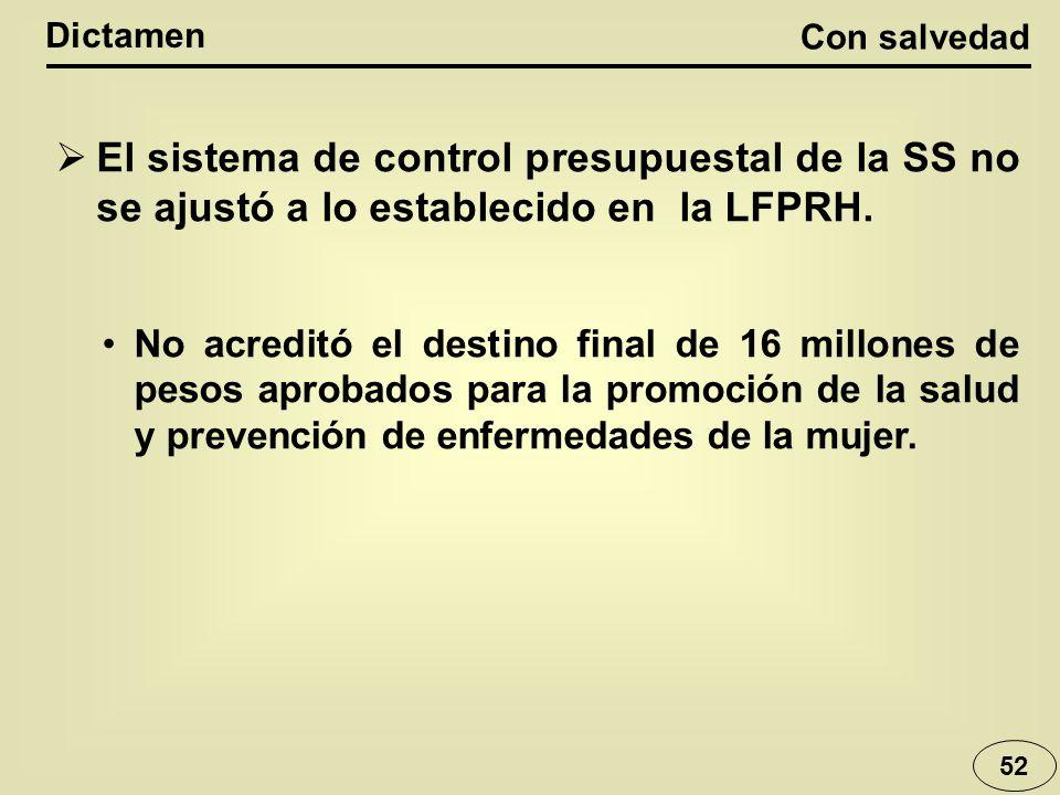 Con salvedad Dictamen 52 El sistema de control presupuestal de la SS no se ajustó a lo establecido en la LFPRH.
