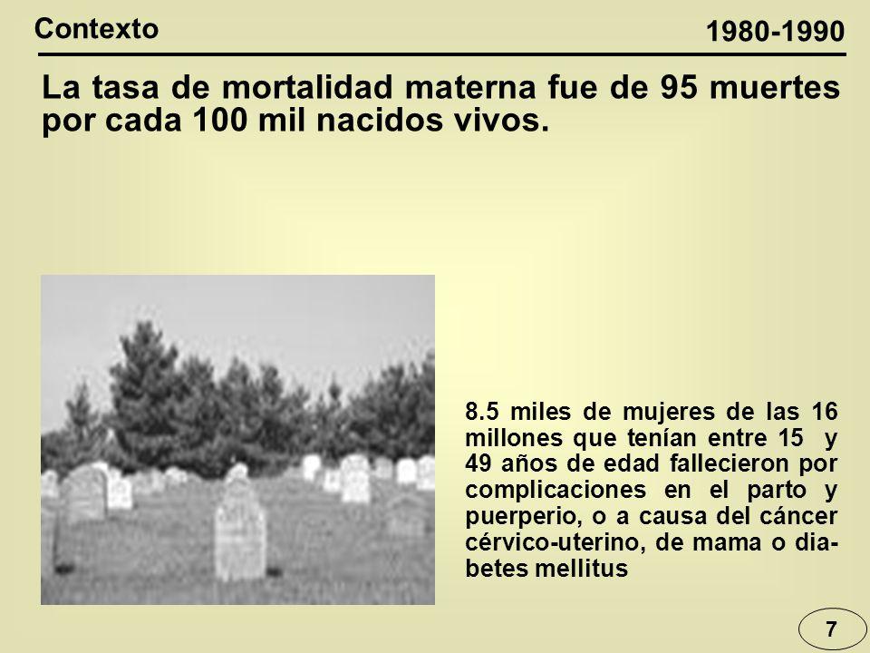 7 Contexto La tasa de mortalidad materna fue de 95 muertes por cada 100 mil nacidos vivos.