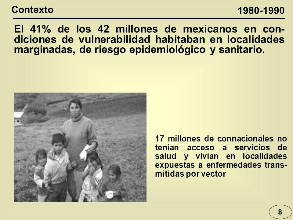 8 Contexto El 41% de los 42 millones de mexicanos en con- diciones de vulnerabilidad habitaban en localidades marginadas, de riesgo epidemiológico y sanitario.
