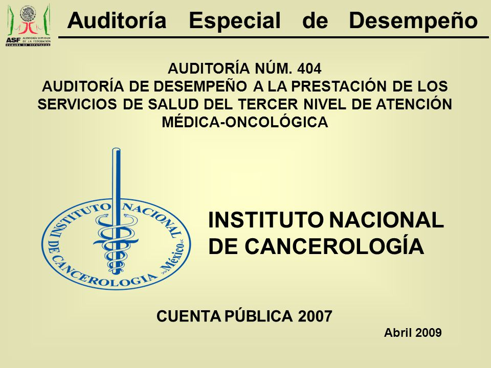 41 De acuerdo con la Ley de los Institutos Nacionales de Salud, el 99% de los 7.6 miles de enfermos asistidos por el INCAN fueron referidos por instituciones públicas de salud.
