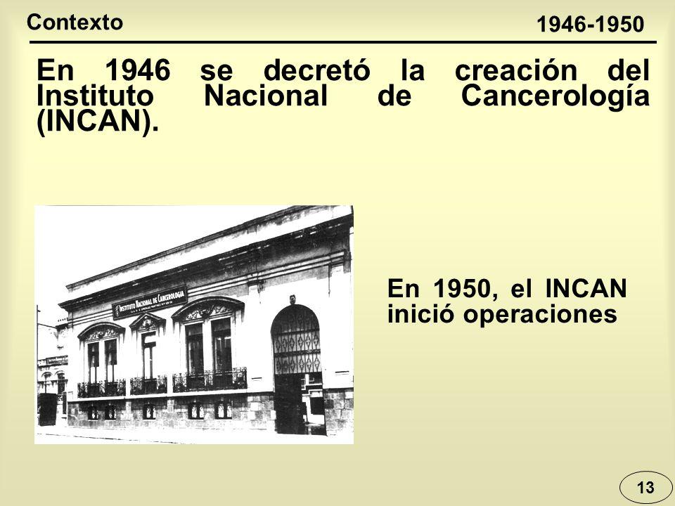 13 En 1946 se decretó la creación del Instituto Nacional de Cancerología (INCAN). 1946-1950 Contexto En 1950, el INCAN inició operaciones