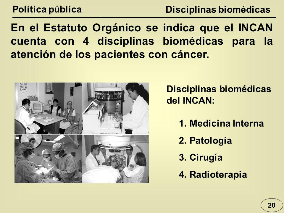 Disciplinas biomédicas Política pública 20 En el Estatuto Orgánico se indica que el INCAN cuenta con 4 disciplinas biomédicas para la atención de los