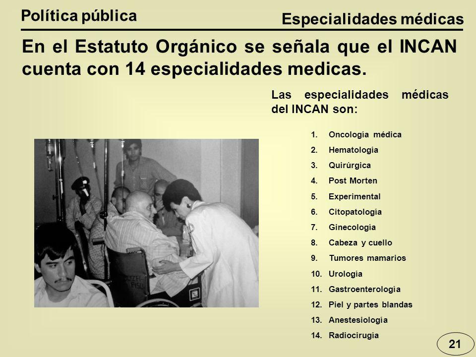 Especialidades médicas Política pública 21 En el Estatuto Orgánico se señala que el INCAN cuenta con 14 especialidades medicas. 1.Oncología médica 2.H