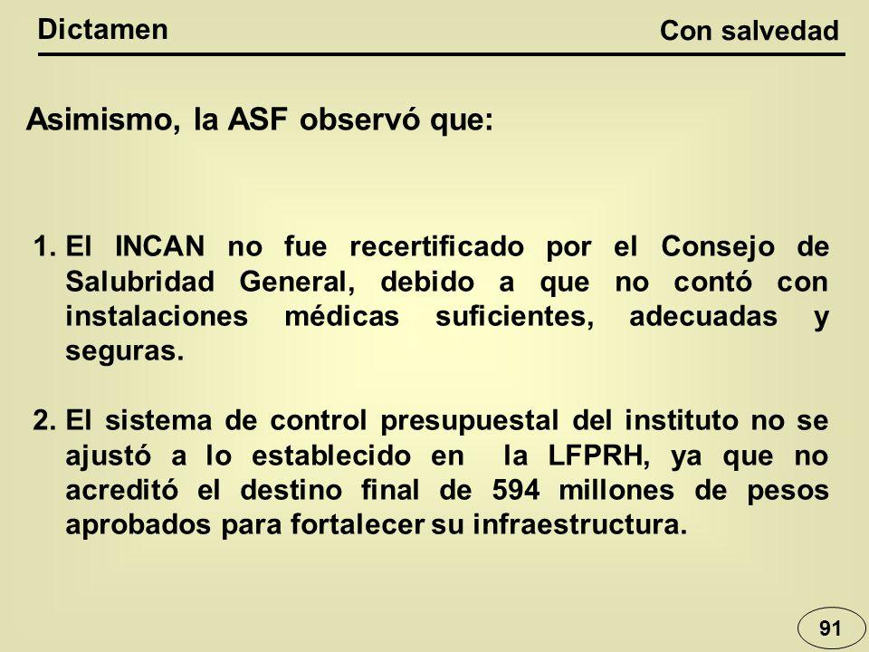 Con salvedad Dictamen 91 1.El INCAN no fue recertificado por el Consejo de Salubridad General, debido a que no contó con instalaciones médicas suficie