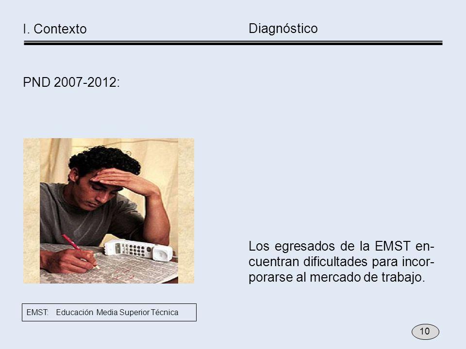 Los egresados de la EMST en- cuentran dificultades para incor- porarse al mercado de trabajo. Diagnóstico I. Contexto PND 2007-2012: 10 EMST: Educació