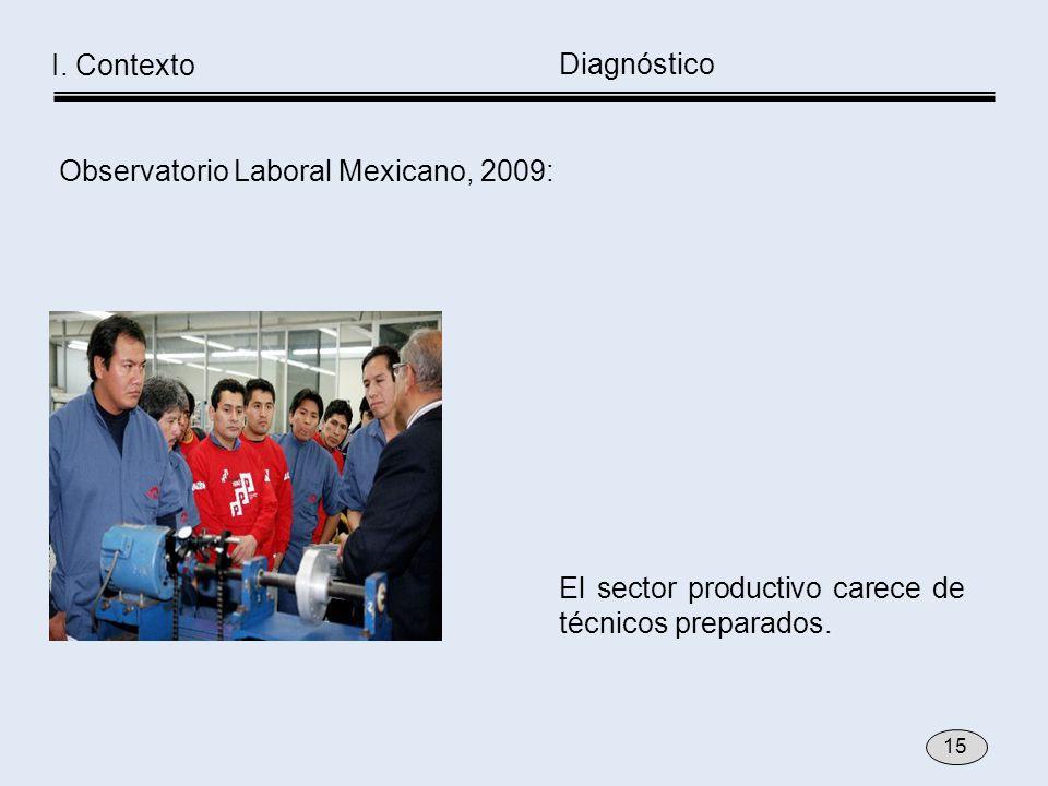 El sector productivo carece de técnicos preparados. Observatorio Laboral Mexicano, 2009: Diagnóstico I. Contexto 15