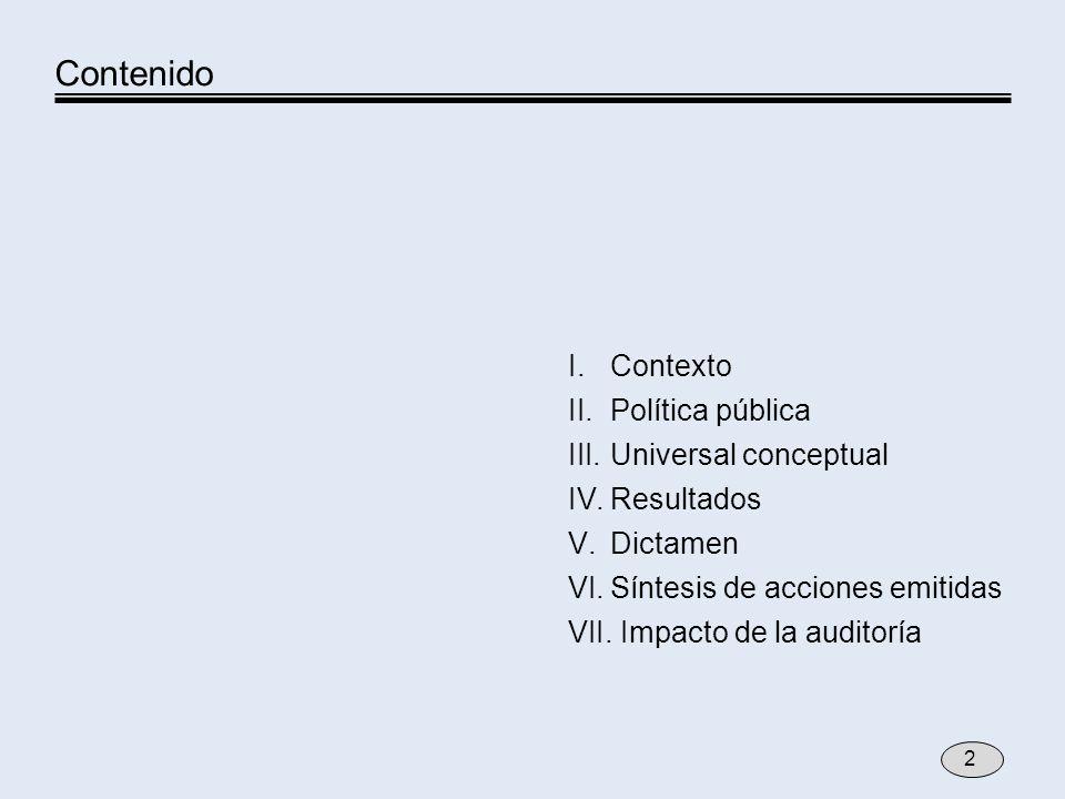 I.Contexto II.Política pública III.Universal conceptual IV.Resultados V.Dictamen VI.Síntesis de acciones emitidas VII. Impacto de la auditoría Conteni