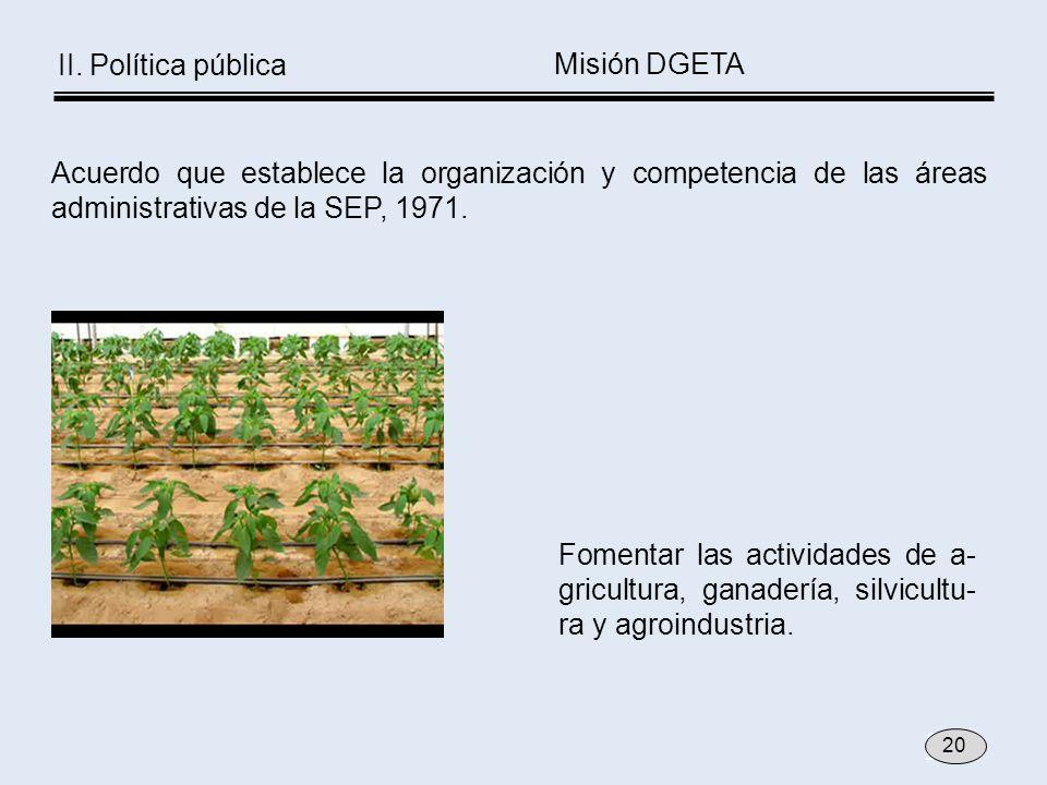 Acuerdo que establece la organización y competencia de las áreas administrativas de la SEP, 1971. Fomentar las actividades de a- gricultura, ganadería
