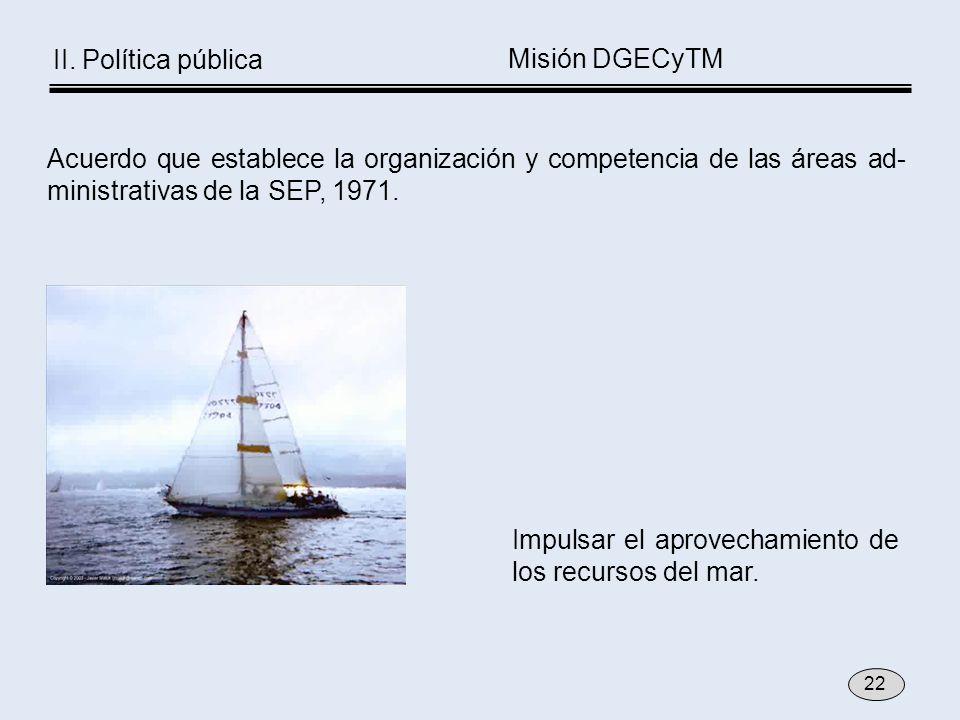Impulsar el aprovechamiento de los recursos del mar. Acuerdo que establece la organización y competencia de las áreas ad- ministrativas de la SEP, 197