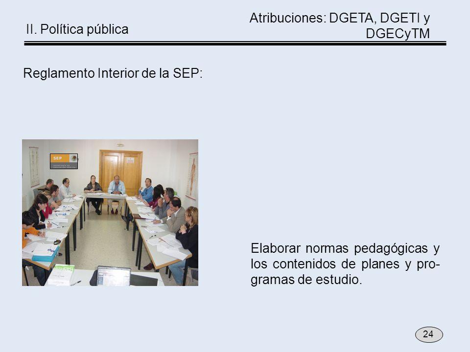 Reglamento Interior de la SEP: Elaborar normas pedagógicas y los contenidos de planes y pro- gramas de estudio. 24 Atribuciones: DGETA, DGETI y DGECyT