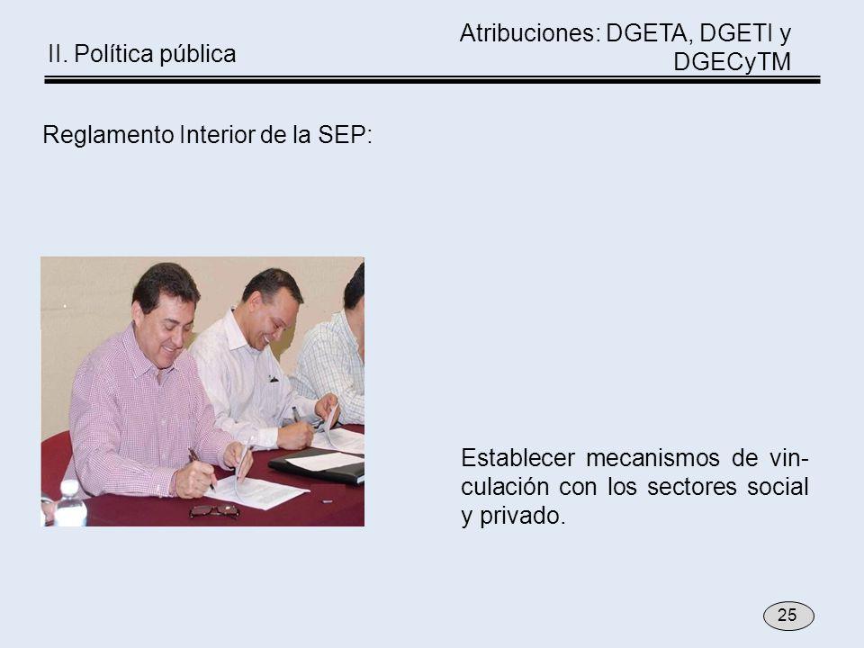 Establecer mecanismos de vin- culación con los sectores social y privado. 25 Reglamento Interior de la SEP: Atribuciones: DGETA, DGETI y DGECyTM II. P