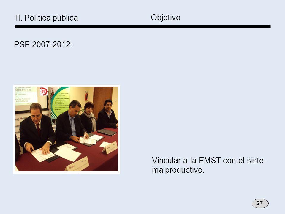 Vincular a la EMST con el siste- ma productivo. Objetivo PSE 2007-2012: 27 II. Política pública