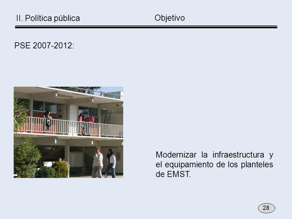 Modernizar la infraestructura y el equipamiento de los planteles de EMST. Objetivo PSE 2007-2012: 28 II. Política pública