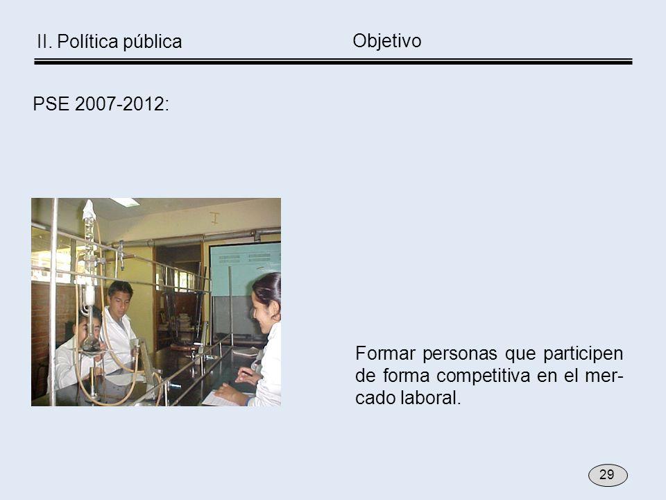 Formar personas que participen de forma competitiva en el mer- cado laboral. Objetivo PSE 2007-2012: 29 II. Política pública