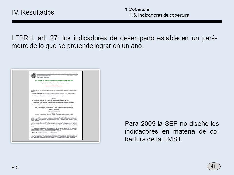 LFPRH, art. 27: los indicadores de desempeño establecen un pará- metro de lo que se pretende lograr en un año. Para 2009 la SEP no diseñó los indicado