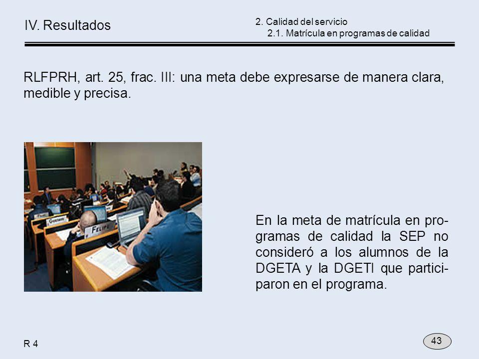 En la meta de matrícula en pro- gramas de calidad la SEP no consideró a los alumnos de la DGETA y la DGETI que partici- paron en el programa. 2. Calid