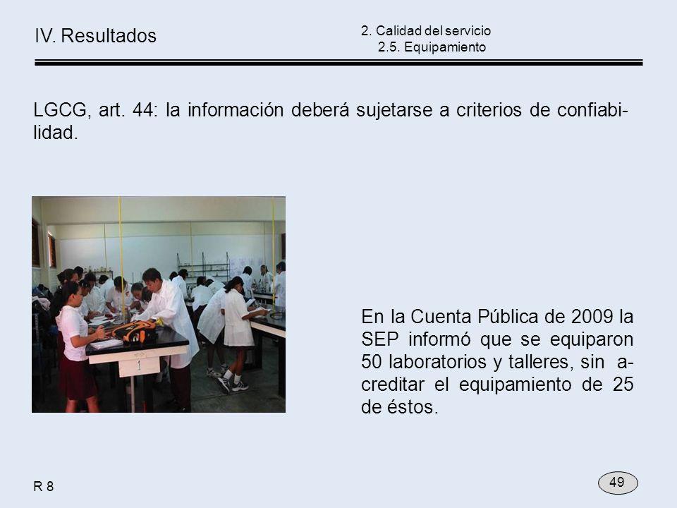 En la Cuenta Pública de 2009 la SEP informó que se equiparon 50 laboratorios y talleres, sin a- creditar el equipamiento de 25 de éstos. 2. Calidad de