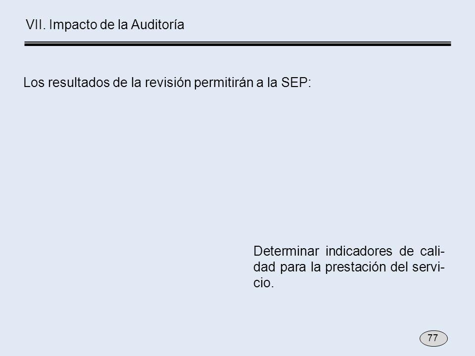 Determinar indicadores de cali- dad para la prestación del servi- cio. VII. Impacto de la Auditoría Los resultados de la revisión permitirán a la SEP: