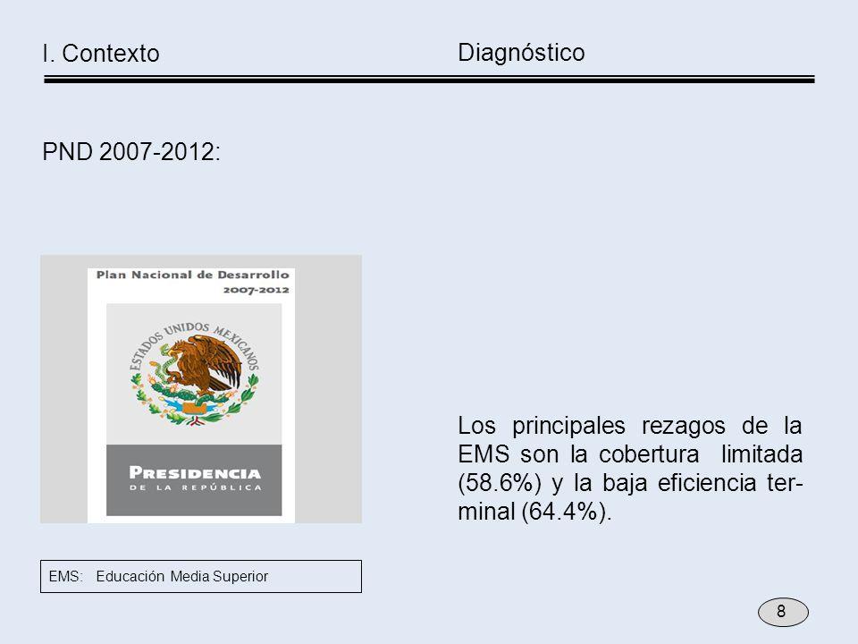 Los principales rezagos de la EMS son la cobertura limitada (58.6%) y la baja eficiencia ter- minal (64.4%). PND 2007-2012: Diagnóstico I. Contexto EM