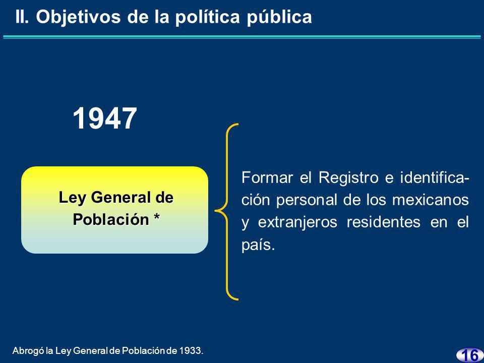 15 Ley General de Población 1936 Instrumentar el Servicio Nacio- nal de Identificación.