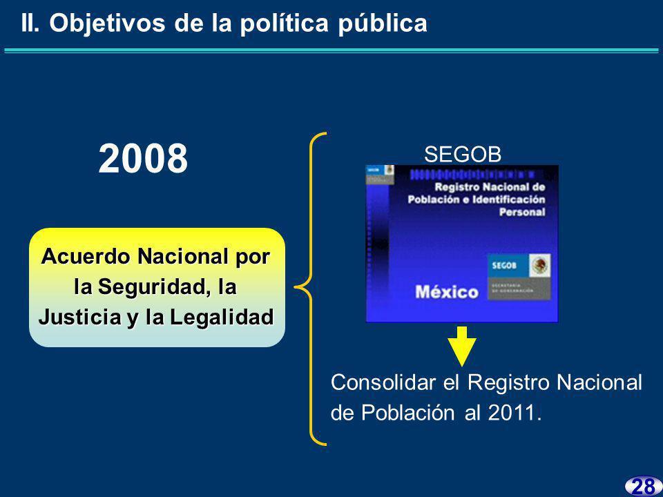 27 II.Objetivos de la política pública -Expedir la Cédula de Identidad Ciudadana.