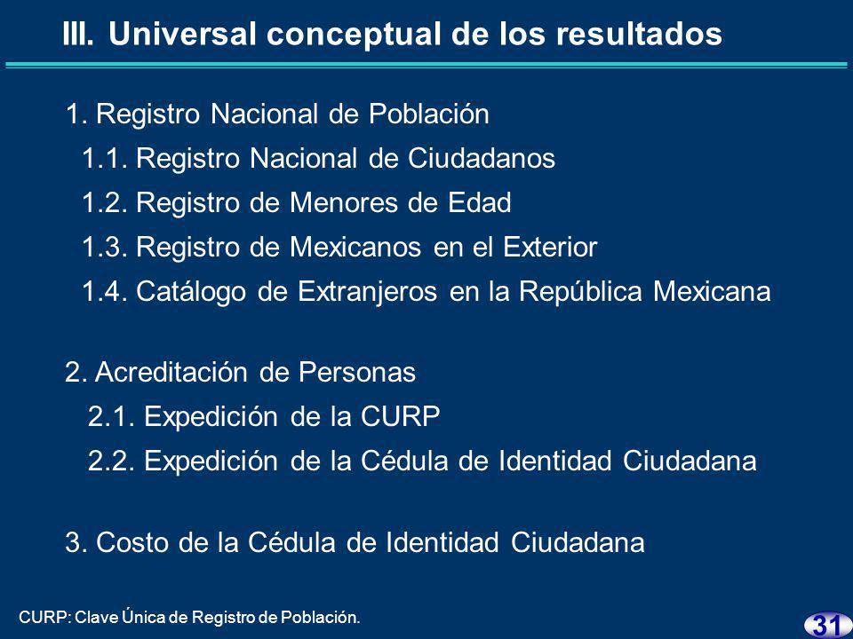 30 III. Universal conceptual de los resultados
