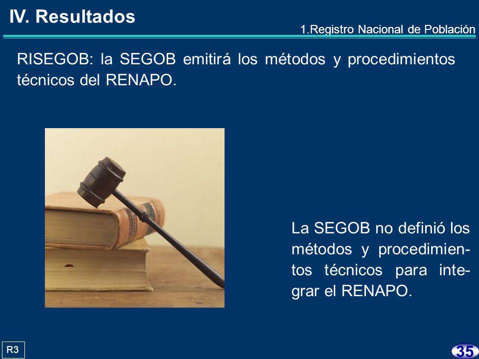 34 Después de 34 años, a 2008 la SEGOB no ha- bía integrado el RENA- PO.
