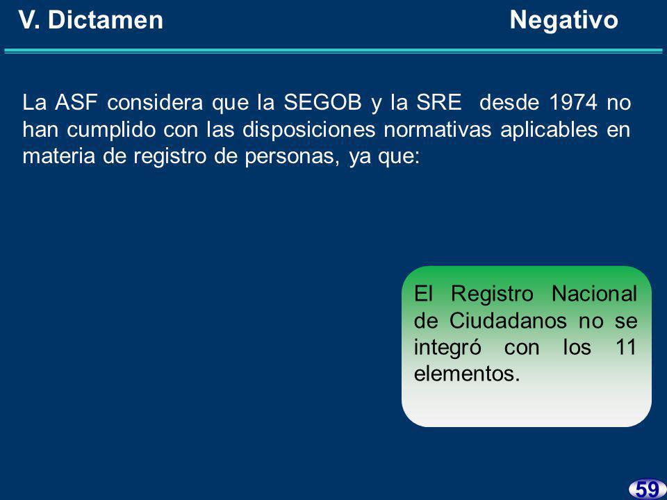 58 V. Dictamen Negativo La ASF considera que la SEGOB y la SRE desde 1974 no han cumplido con las disposiciones normativas aplicables en materia de re