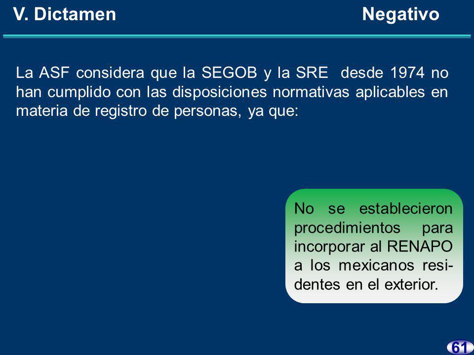 60 V. Dictamen Negativo La ASF considera que la SEGOB y la SRE desde 1974 no han cumplido con las disposiciones normativas aplicables en materia de re