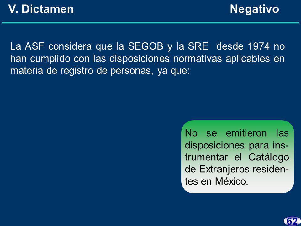 61 V. Dictamen Negativo La ASF considera que la SEGOB y la SRE desde 1974 no han cumplido con las disposiciones normativas aplicables en materia de re