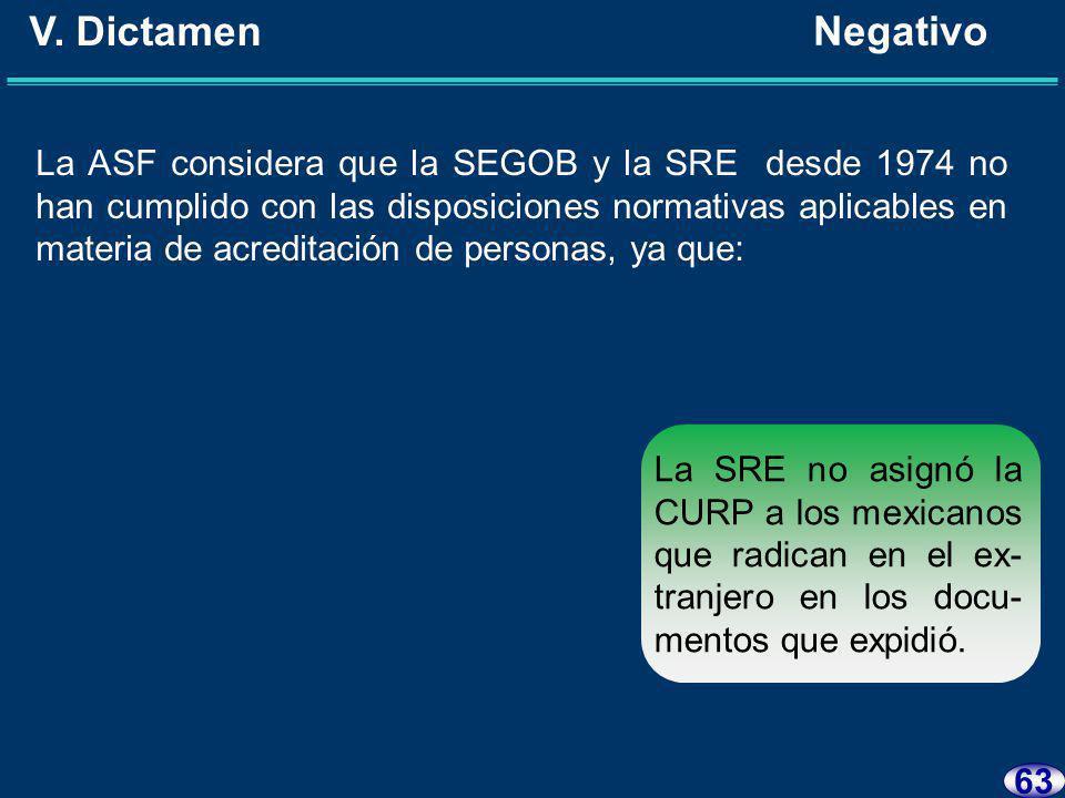 62 V. Dictamen Negativo La ASF considera que la SEGOB y la SRE desde 1974 no han cumplido con las disposiciones normativas aplicables en materia de re