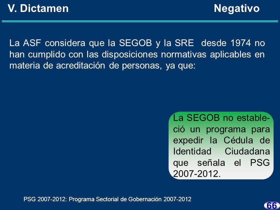 65 V. Dictamen Negativo La ASF considera que la SEGOB y la SRE desde 1974 no han cumplido con las disposiciones normativas aplicables en materia de ac
