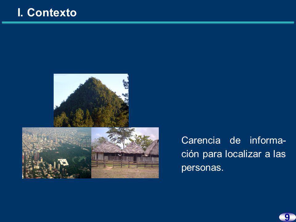 I. Contexto 8 Desconocimiento de la estructura poblacional.