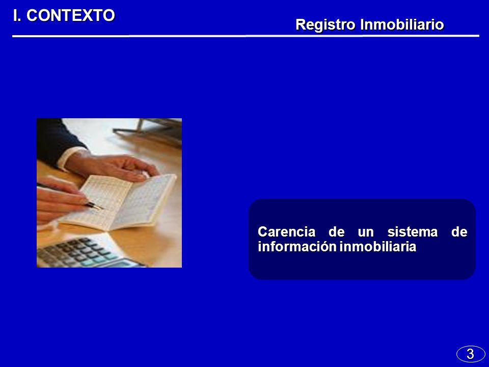 3 I. CONTEXTO Registro Inmobiliario Carencia de un sistema de información inmobiliaria