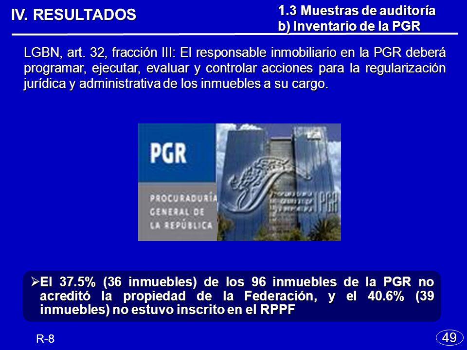 IV. RESULTADOS 49 R-8 El 37.5% (36 inmuebles) de los 96 inmuebles de la PGR no acreditó la propiedad de la Federación, y el 40.6% (39 inmuebles) no es