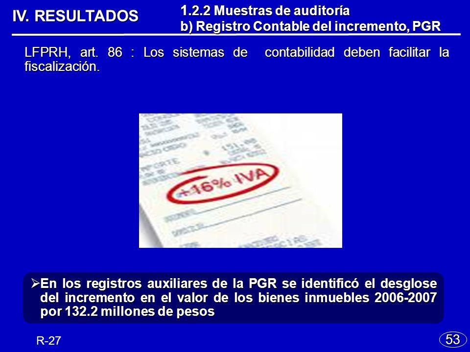 IV.RESULTADOS LFPRH, art. 86 : Los sistemas de contabilidad deben facilitar la fiscalización.