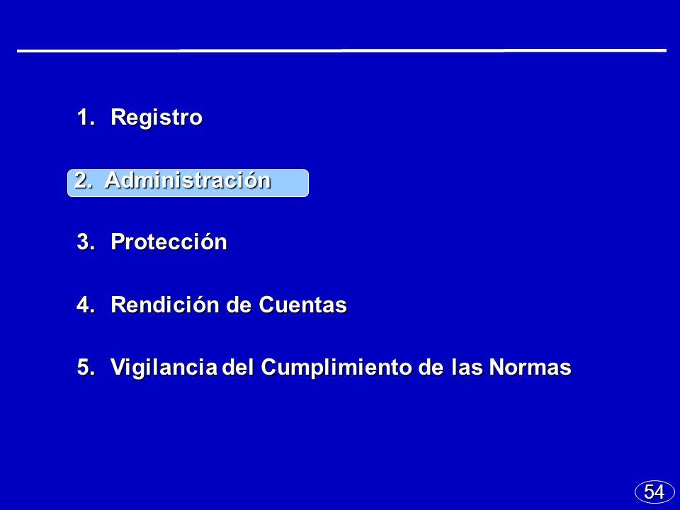 54 1.Registro 2.Administración 3.Protección 4.Rendición de Cuentas 5.Vigilancia del Cumplimiento de las Normas 2.