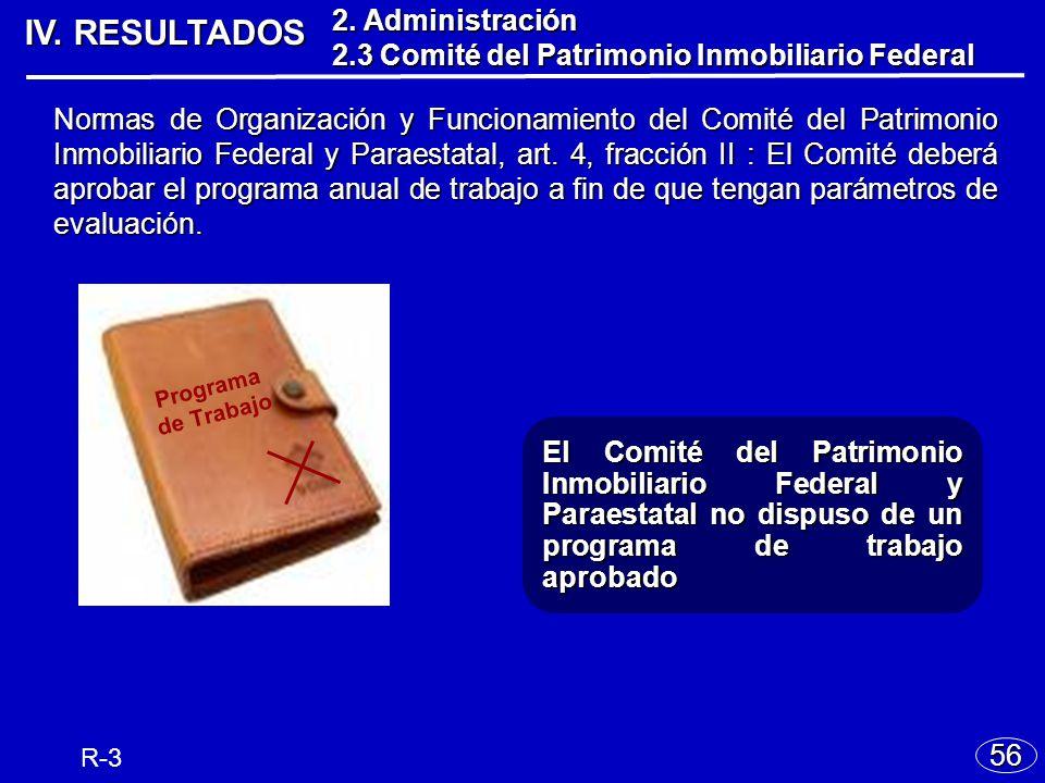 IV. RESULTADOS 56 El Comité del Patrimonio Inmobiliario Federal y Paraestatal no dispuso de un programa de trabajo aprobado Normas de Organización y F