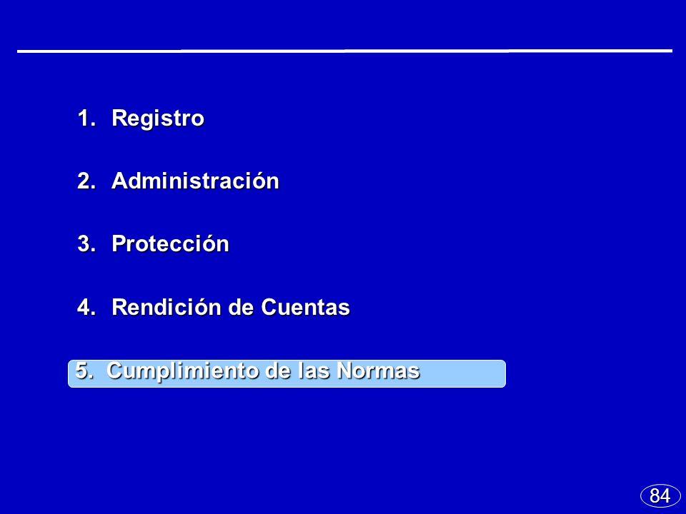 84 1.Registro 2.Administración 3.Protección 4.Rendición de Cuentas 5.Cumplimiento de las Normas