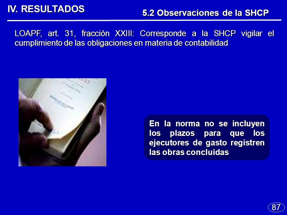 IV. RESULTADOS 87 En la norma no se incluyen los plazos para que los ejecutores de gasto registren las obras concluidas LOAPF, art. 31, fracción XXIII