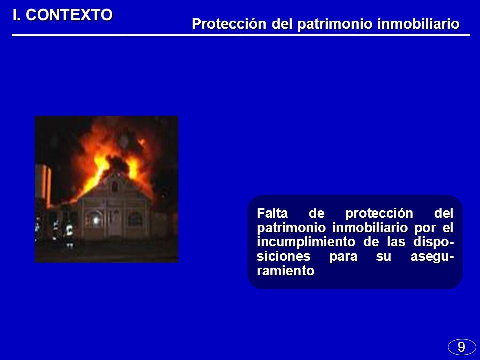 9 I. CONTEXTO Protección del patrimonio inmobiliario Falta de protección del patrimonio inmobiliario por el incumplimiento de las dispo- siciones para